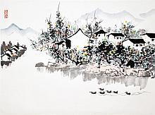 吴冠中 (1919 - 2010) 春江水暖鸭先知 Wu Guanzhong Spring Arrival on Duck Pond