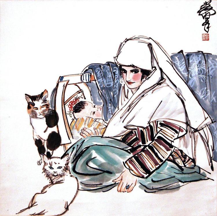 黃冑 (1925 - 1997) 回族母子与猫图 Huang Zhou Uighur Mother and Child with Cats