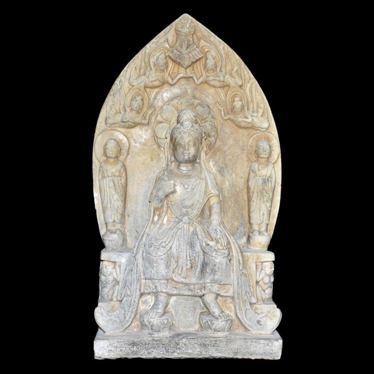六朝 北齐石雕背光观音飞天石碑 Northern Qi, Stone Buddhist Stele