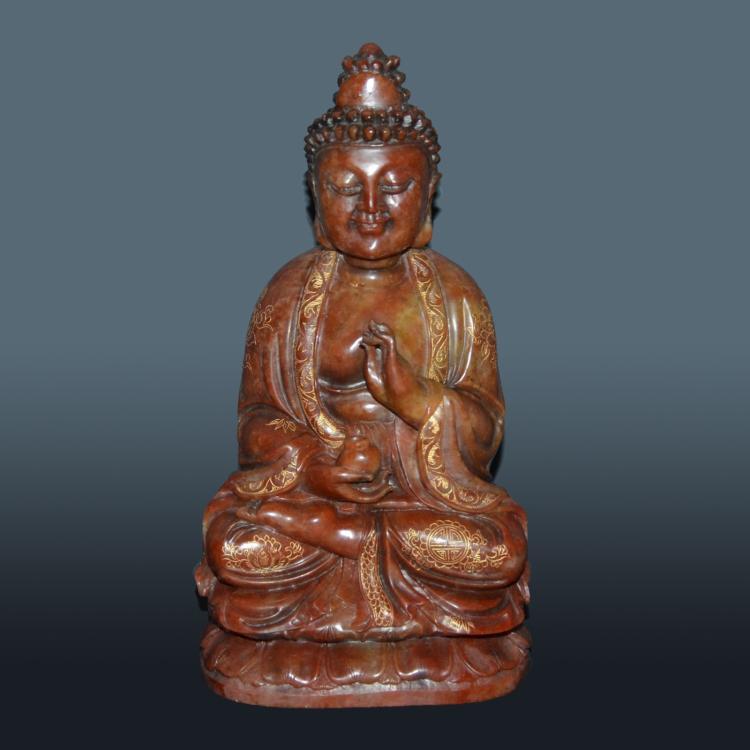 寿山石雕描金观音坐莲赏件 Shoushan Stone Carving of Seated Guanyin with Gilt Decorations