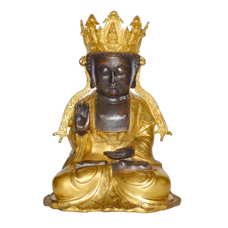 明 铜鎏金观音坐像 Ming, A Gilt Bronze Figure of Guanyin