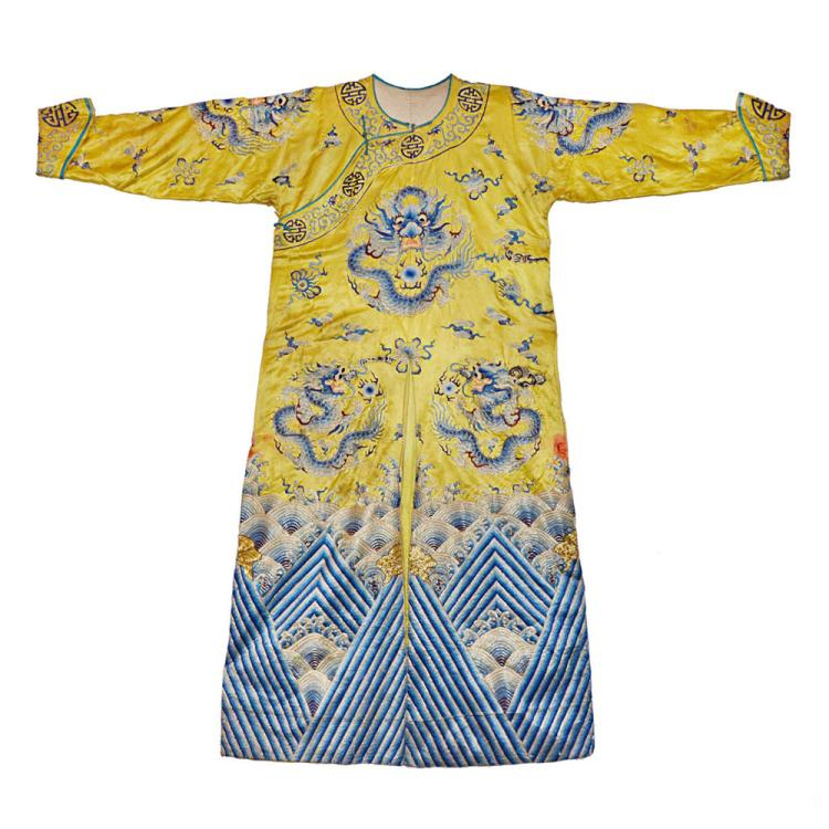 清 刺银绣黄地怀山浩海五龙袍 Qing, An Embroidered Yellow Silk Dragon Robe