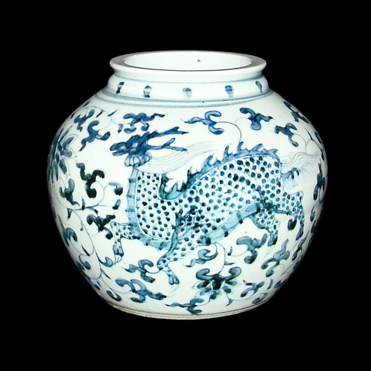 元 青花凤凰四不像神兽穿花纹罐 Yuan, Blue and White Jar with Floral and Phoenix-Qilin Motifs
