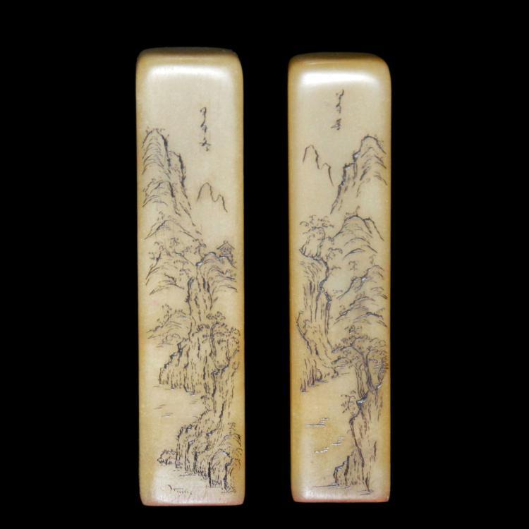 芙蓉石山水长方印章一对 A Pair of Columnar Furong Stone Seals Carved with Landscape