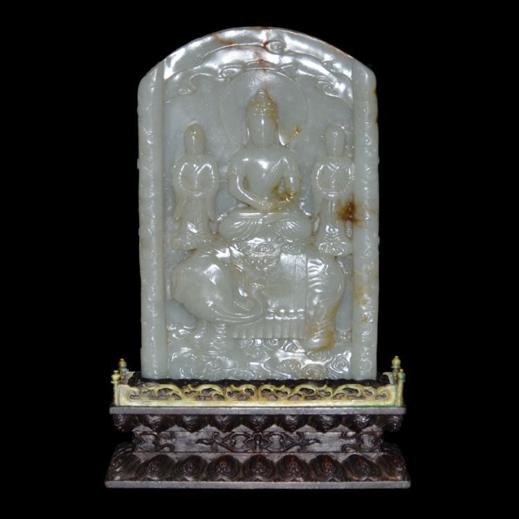 和田玉浮雕观音坐象屏 A Hetian Guanyin Jade Stele