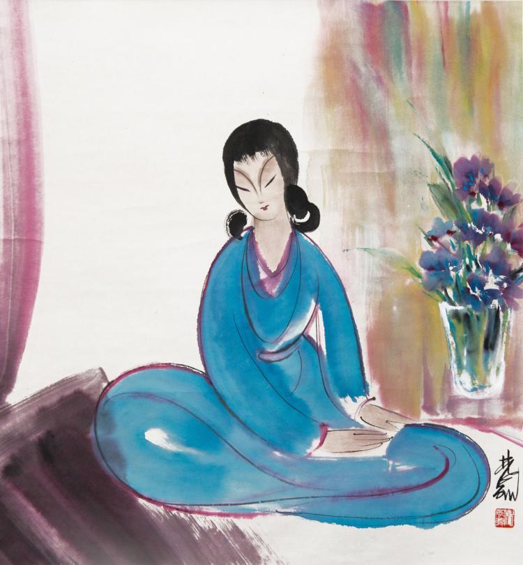 林风眠 (1900 - 1991) 青衣少女艳如花 Lin Fengmian Beauty in Blue