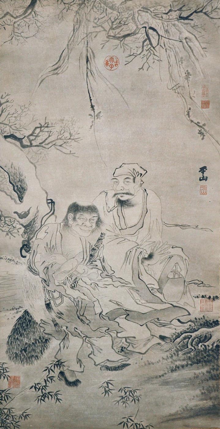 明 张路(平山) (1464 - 1538) 寒山拾得图 Zhang Lu Ming Dynasty Two Friends