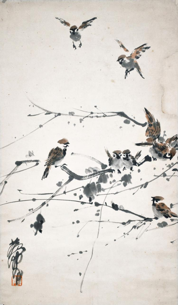 黃冑 (1925 - 1997) 好鸟枝头亦朋友 Huang Zhou Flock of Sparrows