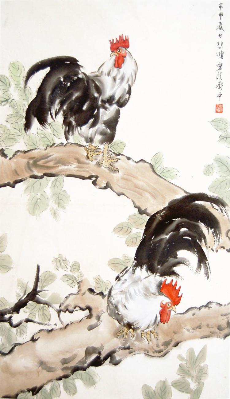 徐悲鸿 (1895 - 1953) 雄鸡立树图 Xu Beihong Roosters