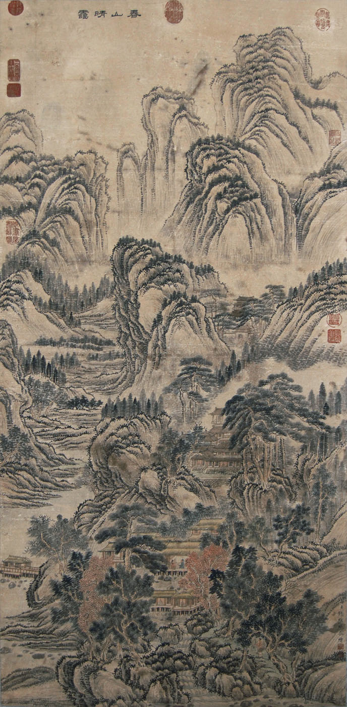 清 钱维城 (1720 - 1772) 春山晴霭图 Qian Weicheng Qing Dynasty Clear Spring Mountains