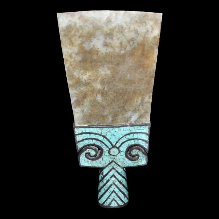 齐家文化(公元前二千年) 绿松石嵌镶大玉铲 Neolithic Qijia Culture, Ritual Vessel Jade Spade