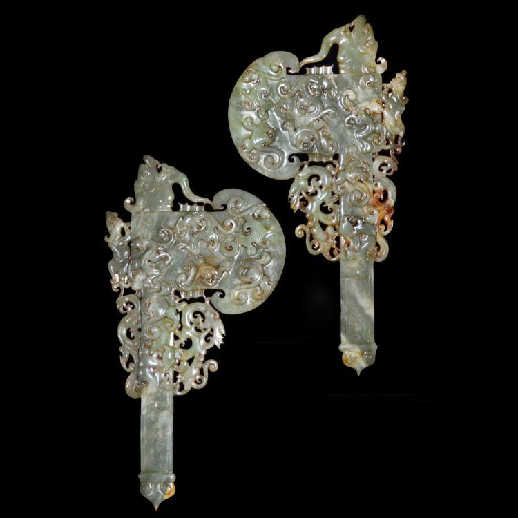 青玉镂雕神人龙凤兽面纹斧一对 A Pair of Carved Celadon Ritual Jade Ax