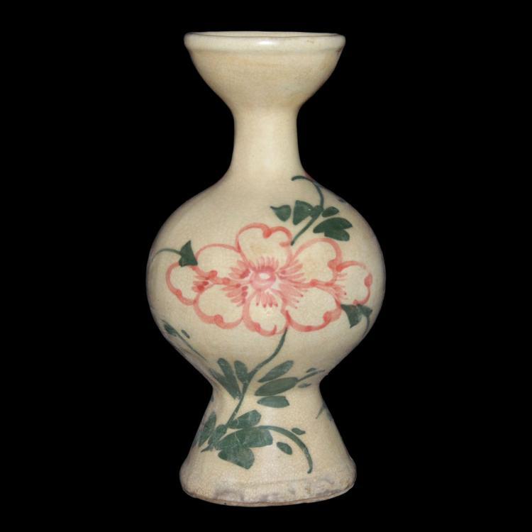 辽/金 磁州窑红绿彩花卉敞口圆体高足瓶 Liao / Jin, Cizhou Baluster Vase