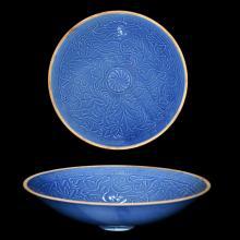 北宋 定窑天蓝釉印花婴戏花卉纹盘 Northern Song, A Fine Sky-Blue-Glazed Stencil-Decorated Dingyao Children at Play Plate