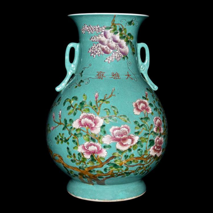 清 光绪 粉彩松绿釉花鸟如意双耳敞口瓶 Qing, A Turquoise-ground Famille-rose Baluster Vase