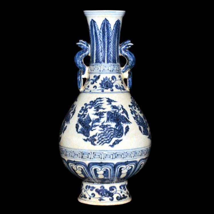 明 永乐 青花团凤纹龙耳双环瓶 Ming, Blue and White Vase with Phoenix Roundel Motifs and Double Dragon Ring Handles