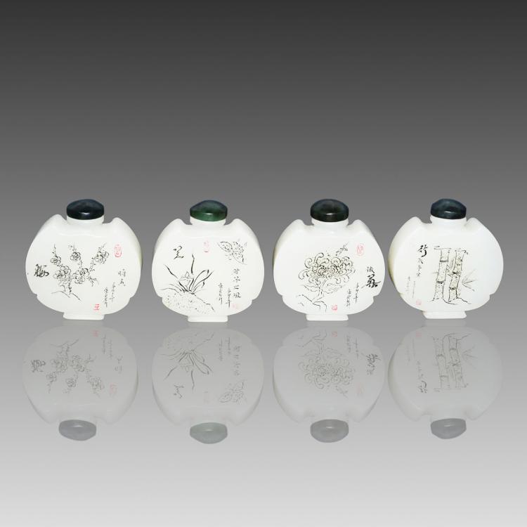 白翠玉梅兰菊竹蝠祥(翔)鼻烟壶一套四件 A Set of Four White Jade Flask Snuff Bottles