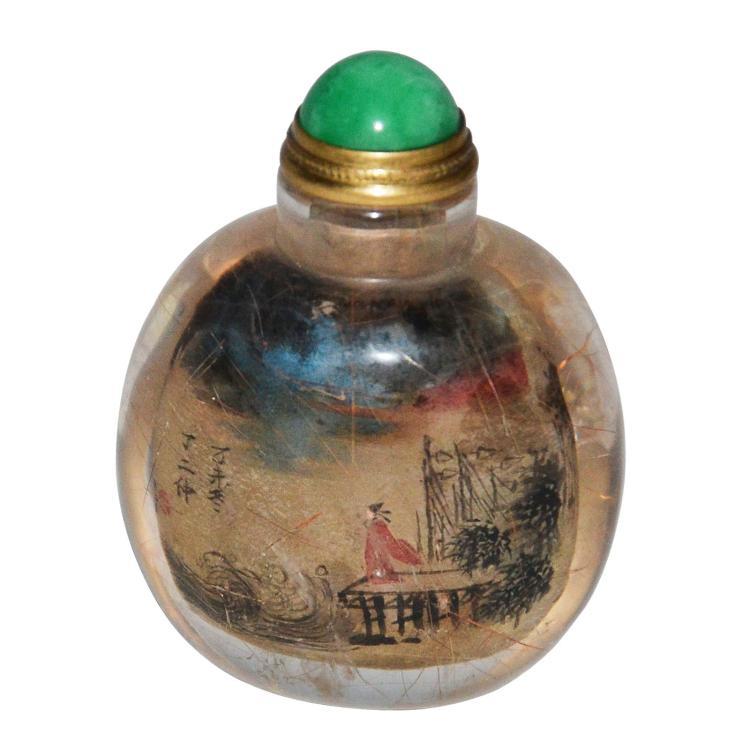 1895年作 丁二仲水晶内画人物鼻烟壶 A Fine Ding Erzhong Inside Painted Crystal Figures Snuff Bottle