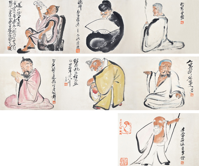 齐白石 (1864 - 1957) 人物手卷 Qi Baishi Hand Scroll of Figures