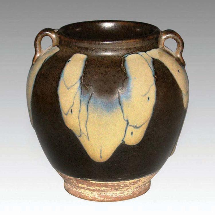 唐 酱釉花瓷斑点双系罐 Tang, A Splashed-Glazed Stoneware Jar with Double Loops