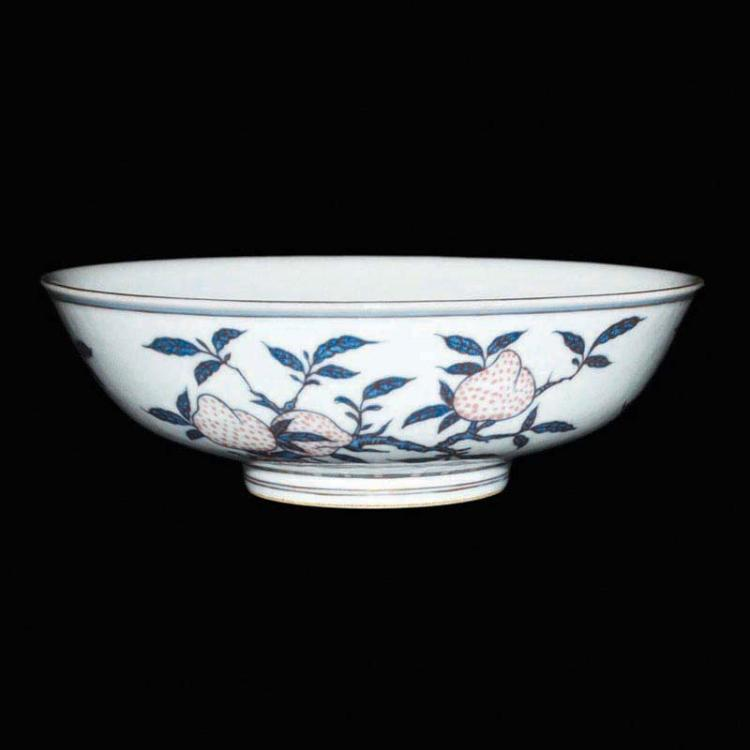 清 乾隆 青花釉里红三菓(桃、石榴、佛手)纹盘 Qing, Blue and White with Copper-red 'Fruit' Plate