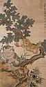 清 居廉 (1828 - 1904) 貓戲粉蝶 Ju Lian Qing Dynasty  Playful Cats