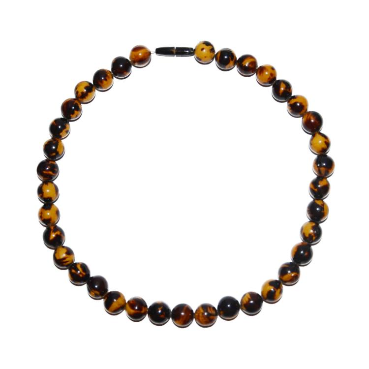 Qing tortoise shell bead necklace for Real tortoise shell jewelry