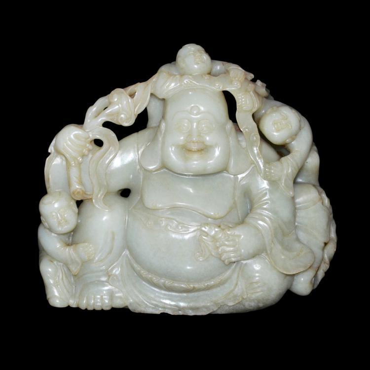 Relief jade carving of maitreya with children 双面圆雕玉弥佛婴戏赏件
