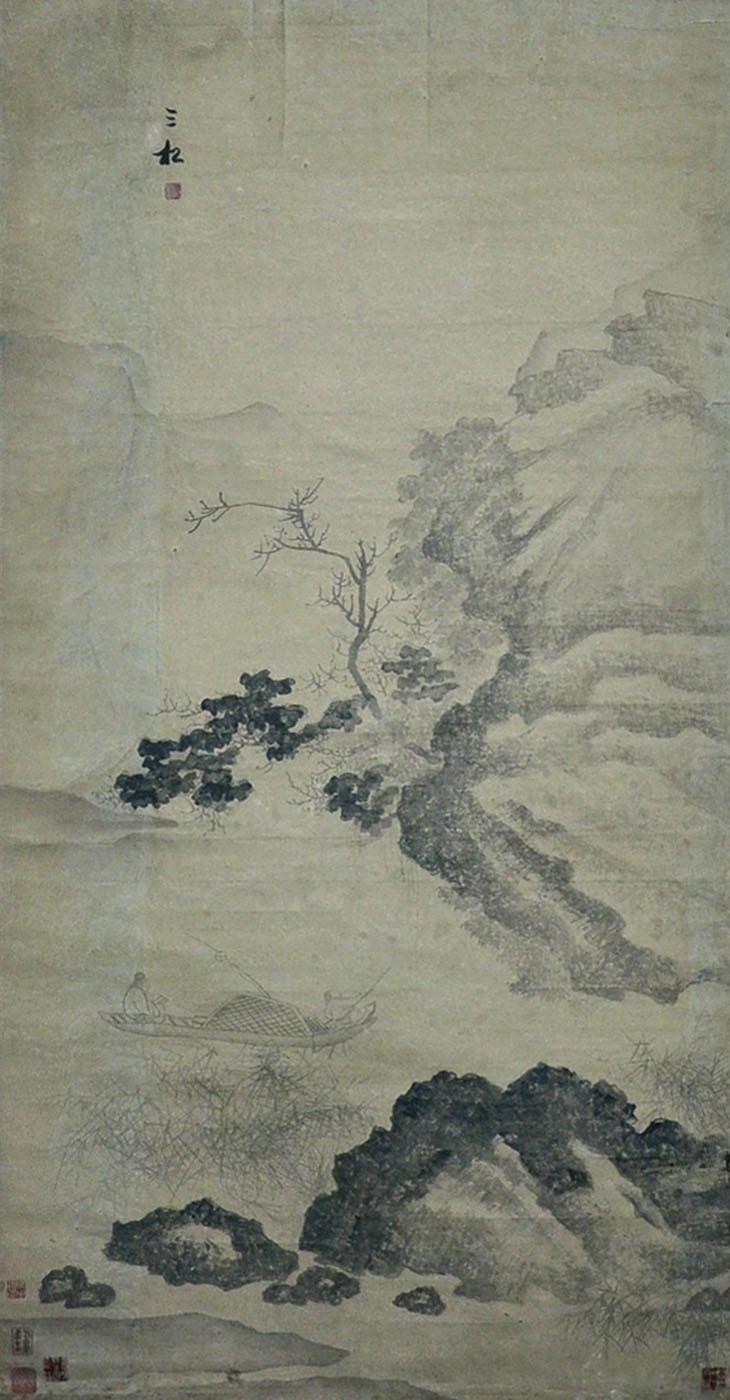 明 蒋嵩(三松) (15th C.-16th C.) 青山绿水任垂钓 Jiang Song (Sansong)  Ming Dynasty Boating and Fishing
