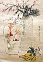 清 虛谷 (1824 - 1896) 金魚佛手瓶梅圖 Xu Gu  Qing Dynasty  Gold Fish, Plum Blossom and Foshou Fruits