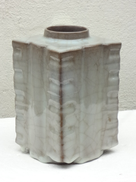 Elegant Song Dynasty Guan Yao Square Cong Shape Vase