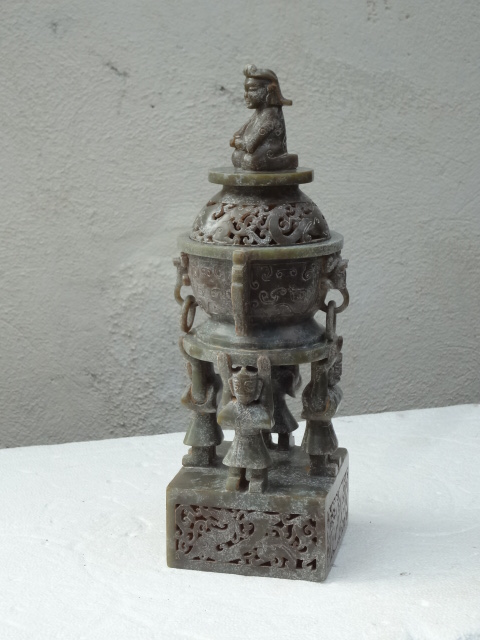 Elegant Han Dynasty Spinach Green Jade Perfumer with Cover and Finial
