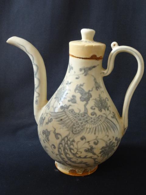 Rare Yuan Dynasty Underglaze Blue Wine Ewer with Phoenix Motif