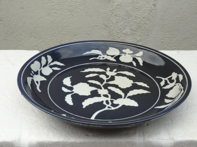 Elegant Ming Dynasty Xuande Period Sapphire Blue Plate with Floral Motif