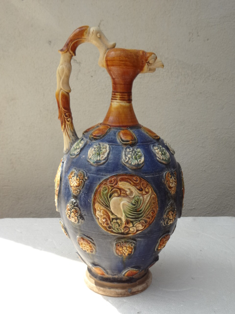 Important Tang Dynasty Sancai Phoenix & Dragon Pottery Ewer
