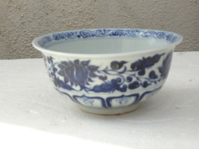Rare Yuan Dynasty Underglaze Blue Bowl with Floral Motif