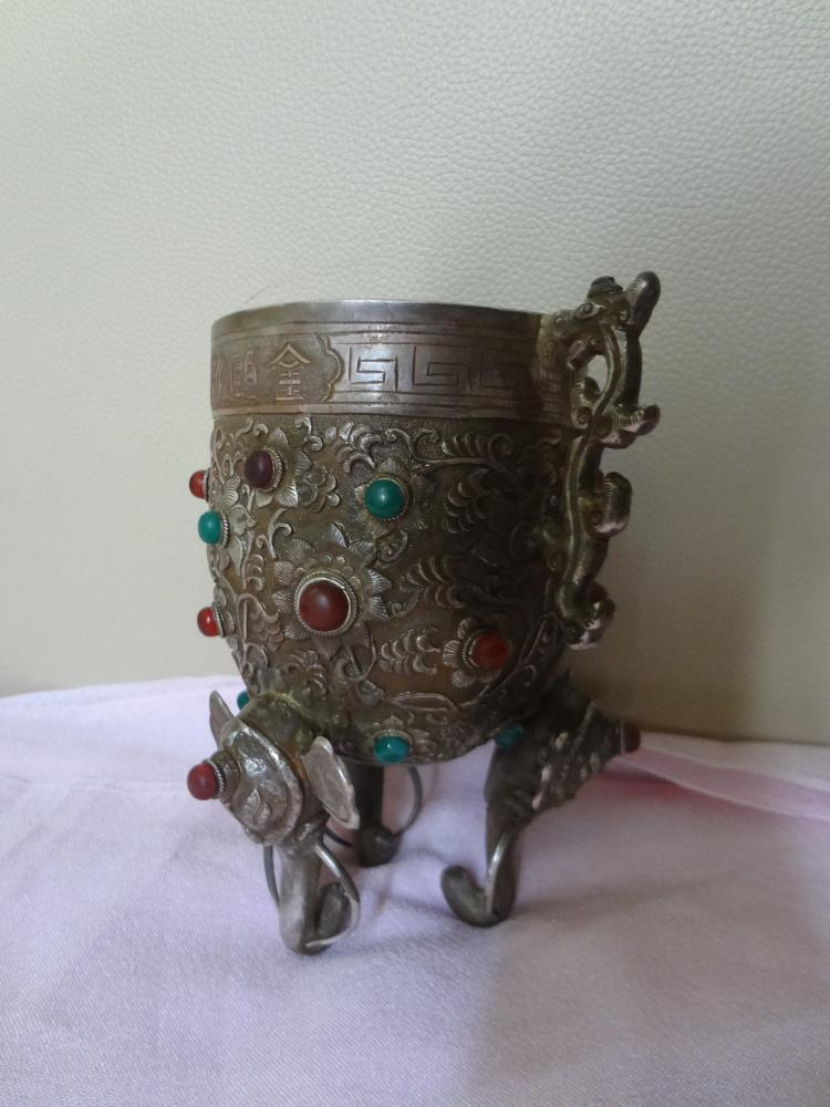 National Treasure: Qing Dynasty Emperor's Silver Cup with Precious Stones