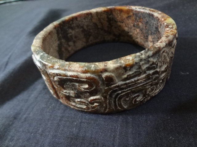 Very Rare 3000-years-old Zhou Dynasty Jade Bangle with Dragon & Phoenix Motifs
