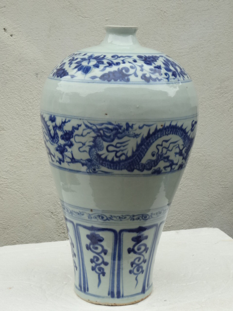 Yuan Dynasty Treasure: Underglaze Blue Meiping with Dragon Motif
