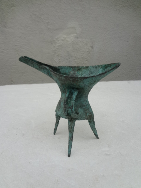3500-years-old Erlitau Culture Bronze Tripod Wine Cup with Long Spout