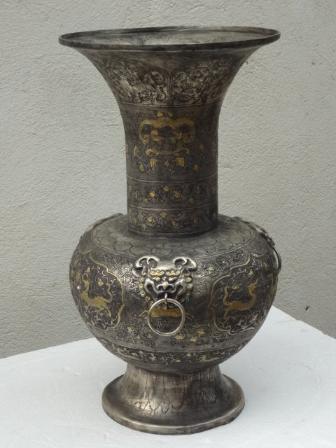 Exquisite Tang Dynasty Gilt Silver Wide Mouth Vase with Qilins