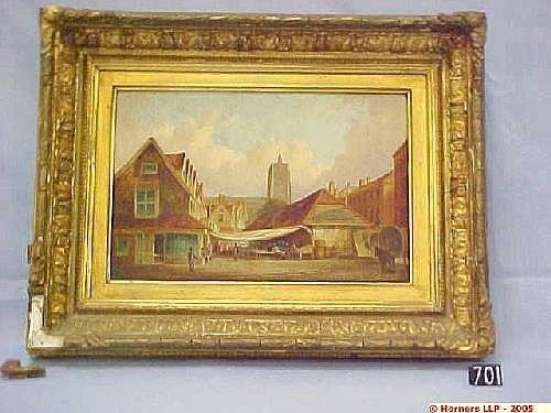Edward Littlewood, Oil on Canvas in Gilt Frame, Old Fish Market, Norwich, 19 Cm X 29 Cm