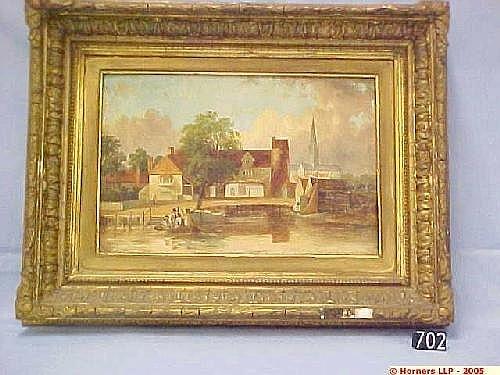 Edward Littlewood, Oil on Canvas in Gilt Frame, Pulls Ferry Norwich, 19 Cm X 29 Cm