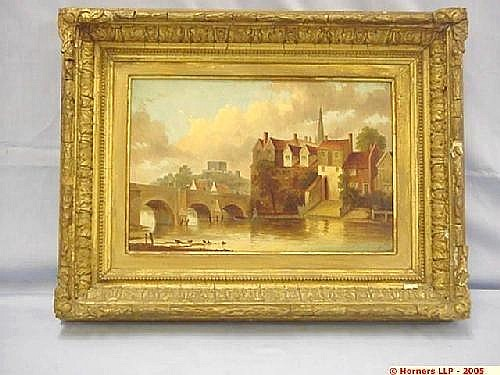 Edward Littlewood, Oil on Canvas in Gilt Frame, View Looking Over River with Bridge and Houses, the Castle and Cathedral in the Background Estimate -