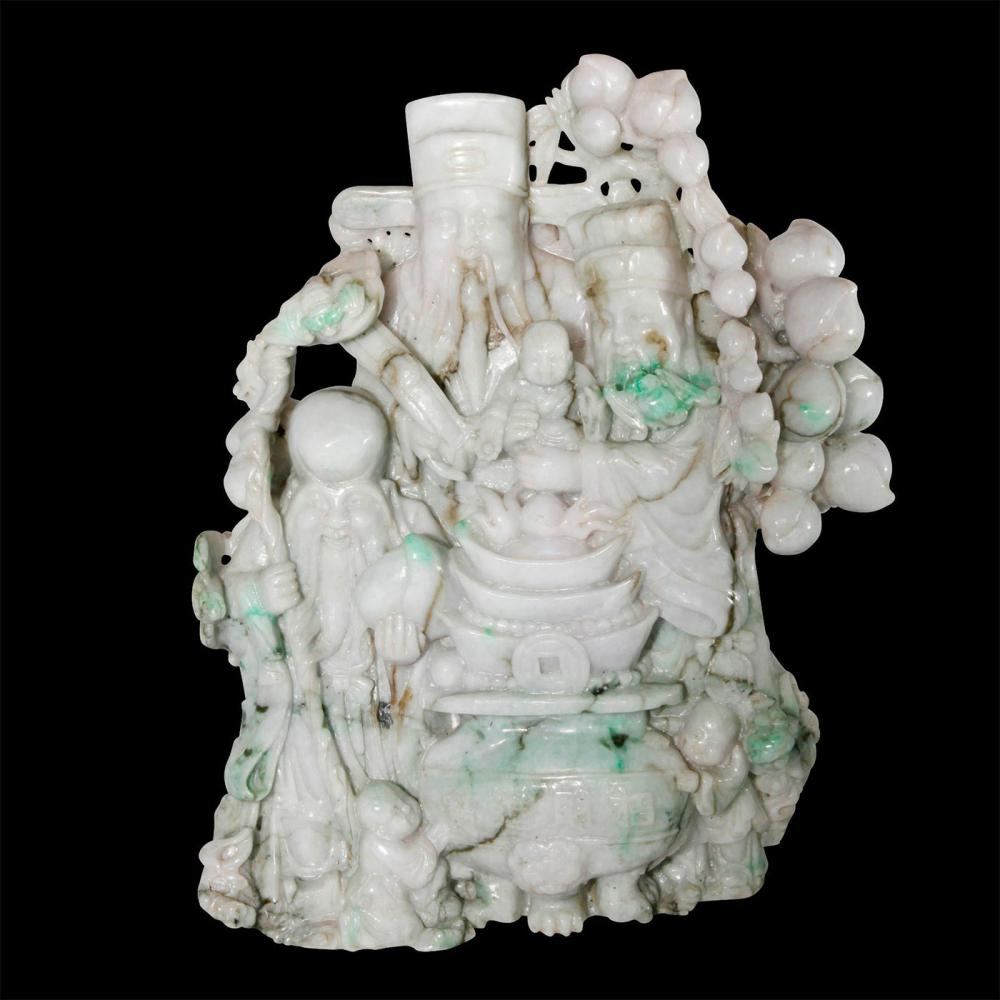 CHINESE CARVED JADE FIGURAL GROUP, 3 IMMORTALS OF GOOD LIFE