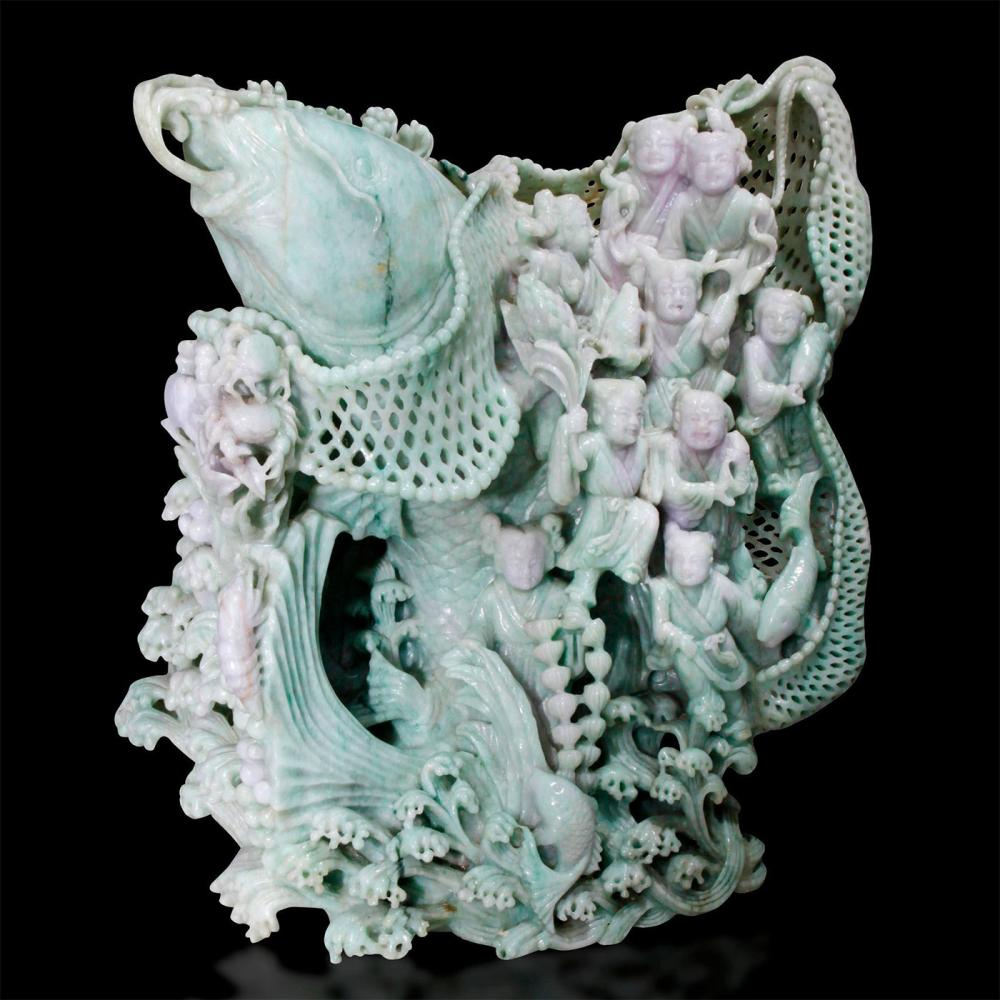 CHINESE CARVED JADE MONUMENTAL FIGURAL GROUP, CARP FISH AND IMMORTALS