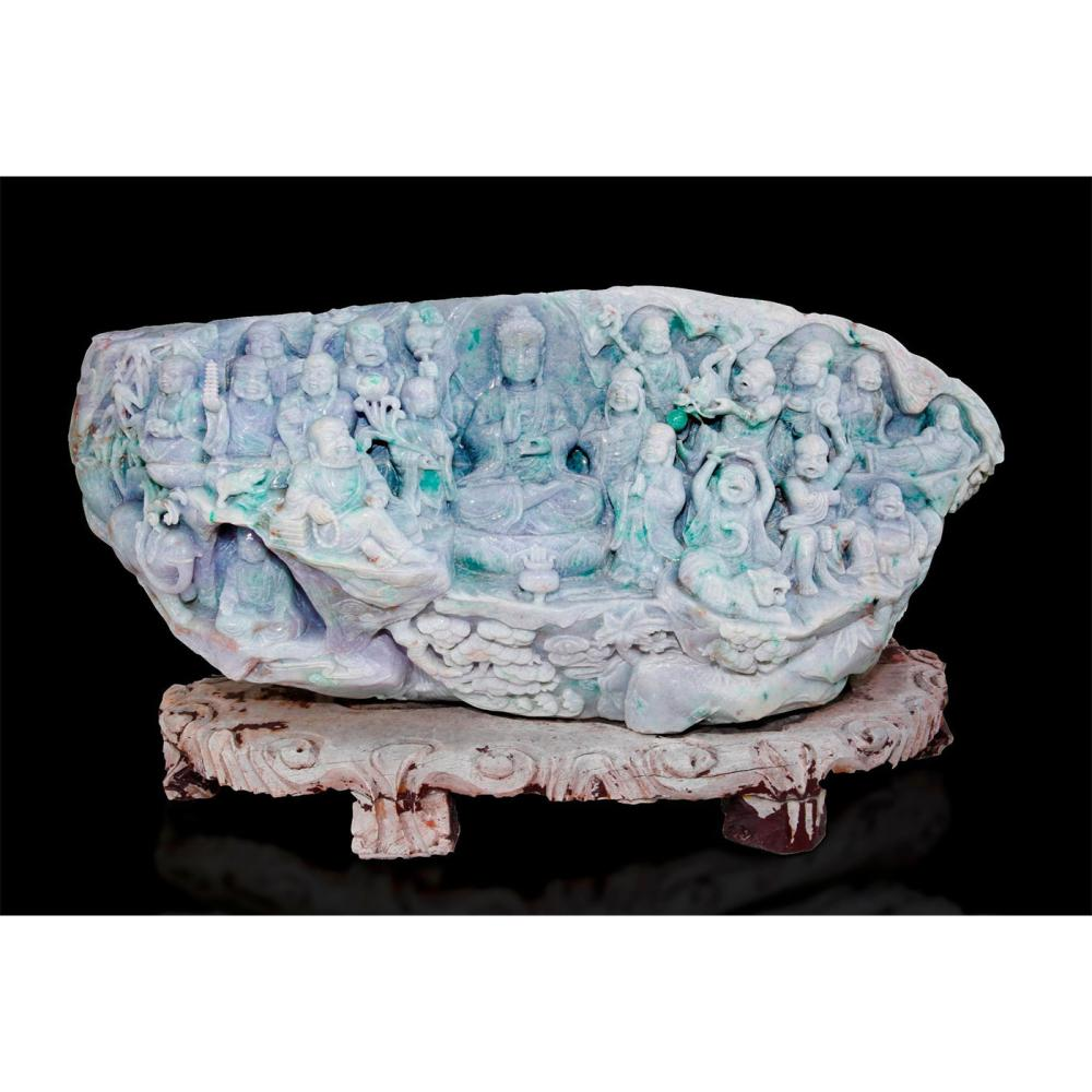 CHINESE CARVED JADE MONUMENTAL FIGURAL GROUP, 18 BUDDHAS