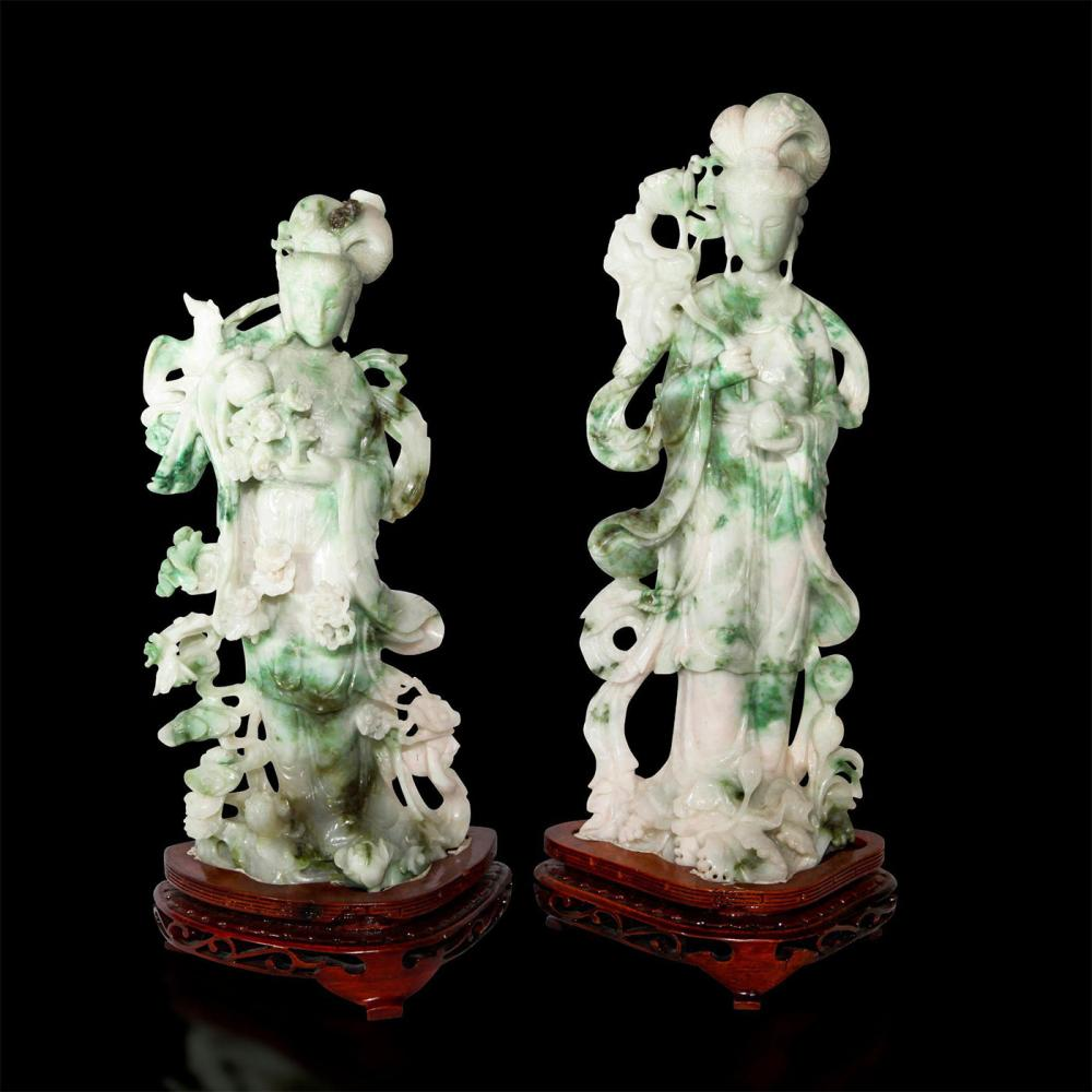 PAIR OF CARVED JADE GUANYIN, WITH WOODEN STANDS