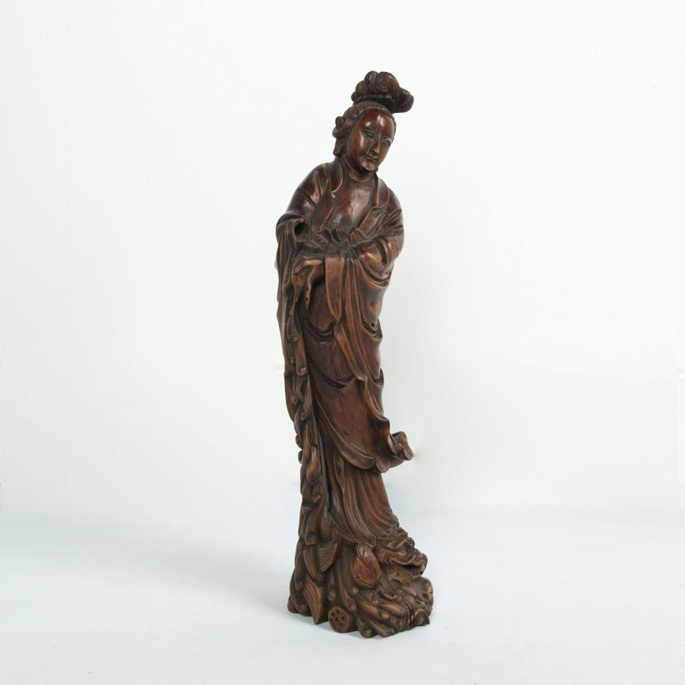 HAND CARVED WOODEN FIGURE OF GUAN YIN