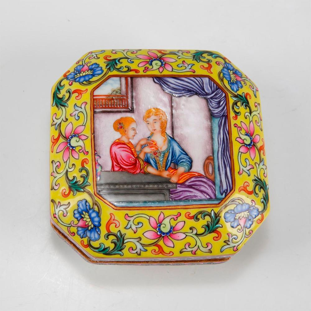 CHINESE QING DYNASTY CLOISONNE ENAMEL BOX & COVER